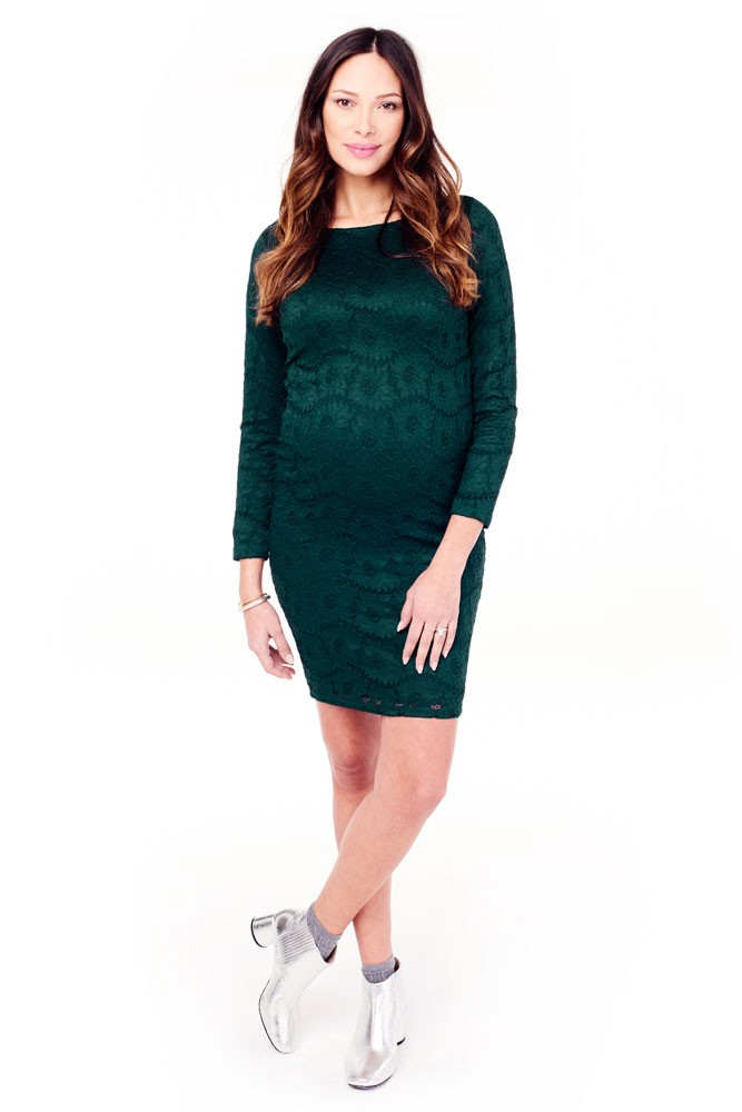 Ingrid & Isabel Boatneck Lace Maternity Dress (Evergreen)