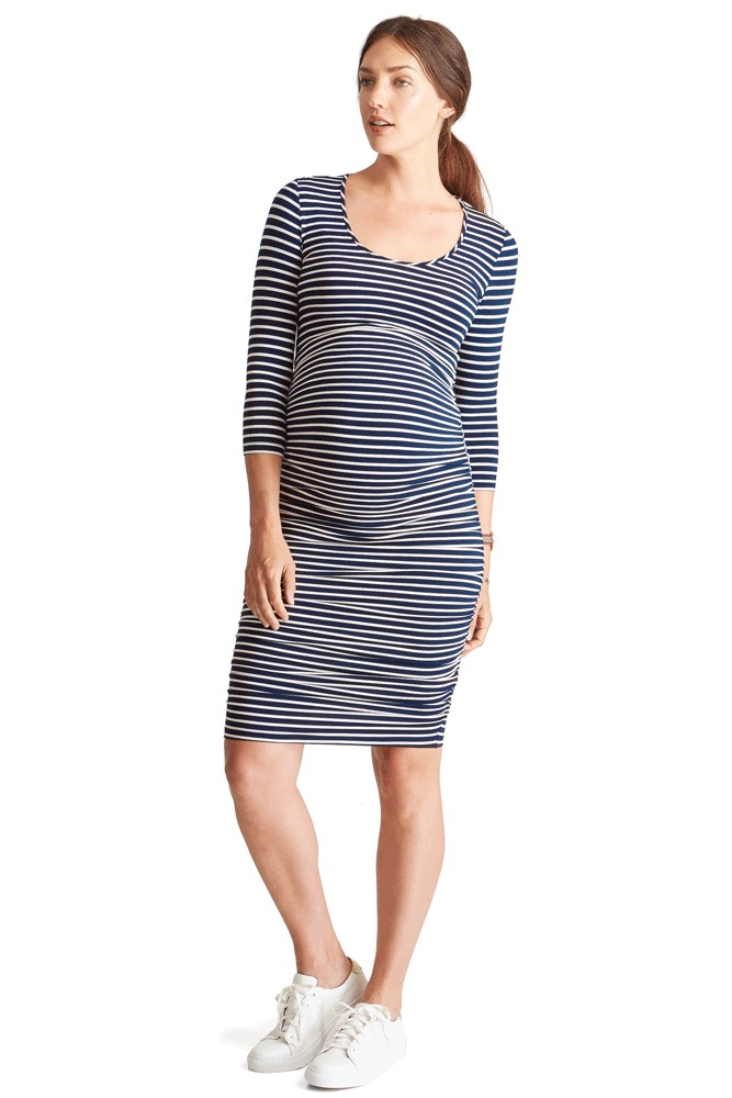 Ingrid & Isabel Stripe 3/4 Sleeve Shirred Maternity Dress (True Navy & Cream)