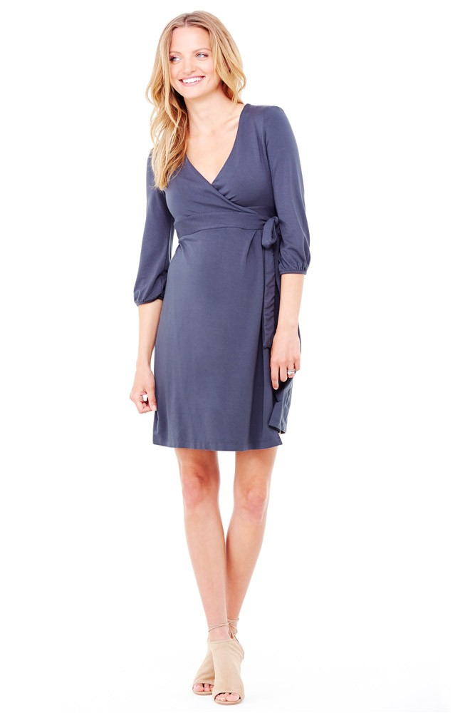 Ingrid & Isabel 3/4 Sleeve Wrap Maternity Dress (Metal)