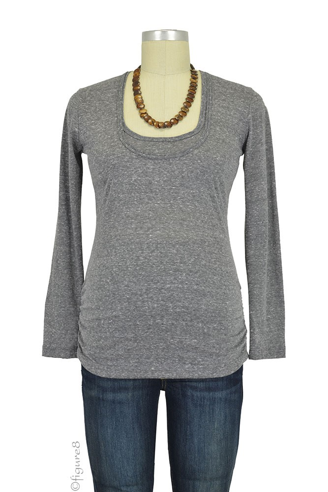 Bun Tri-Blend Cozy  Long Sleeve Maternity & Nursing Tee (Charcoal Black)
