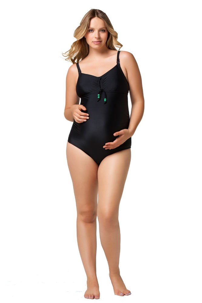 Rosewater by Cake- Squash Nursing Bathing Suit (Black with Apple Green Lining)