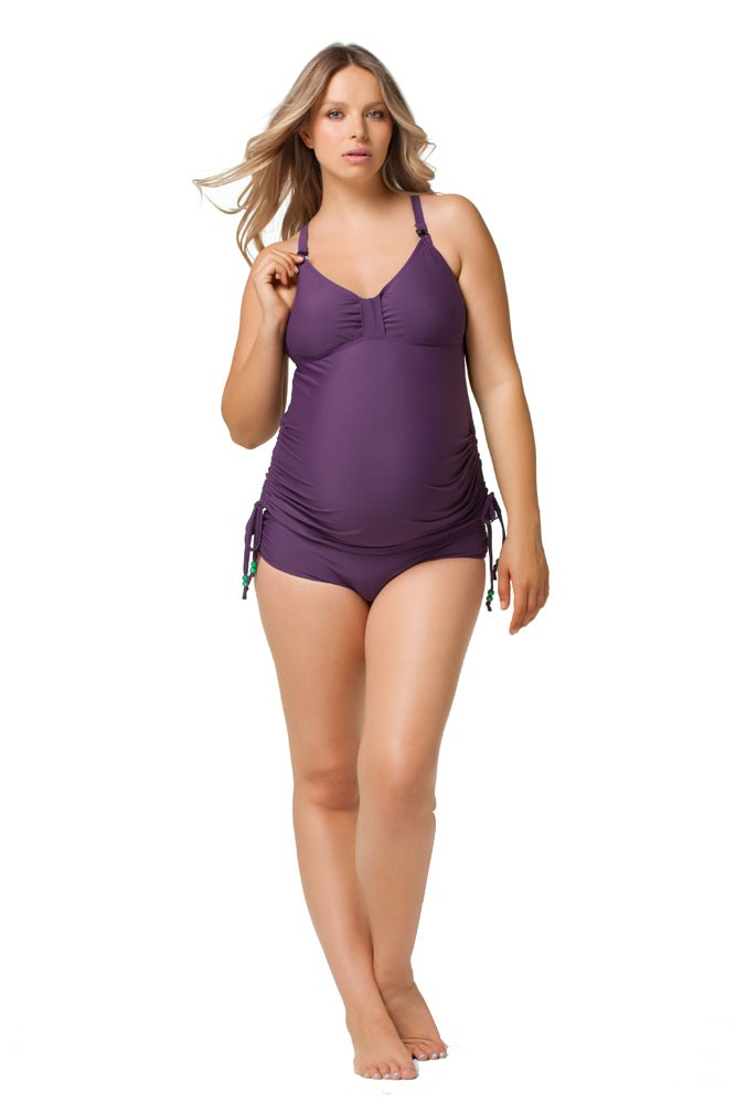 Rosewater by Cake- Shake Nursing Tankini (Purple)
