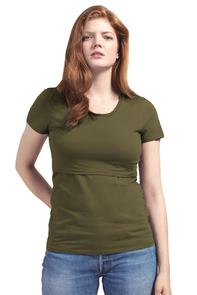 Boob Design Classic Organic Scoop Neck Maternity & Nursing Top (Forest Green)