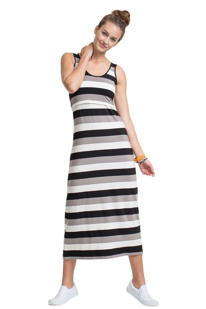 ad782e7dc184a Boob Design Cameron Maternity & Nursing Maxi Dress in Multi-Stripe Black