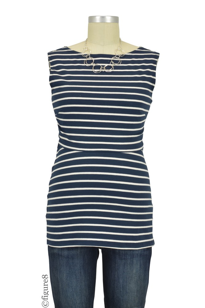 Boob Design Simone Organic Maternity & Nursing Tank (Stripe Midnight Blue/Off-White)