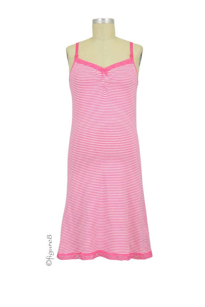 Boob Design Carrie Nursing Night Slip (Off White & Fuschia)