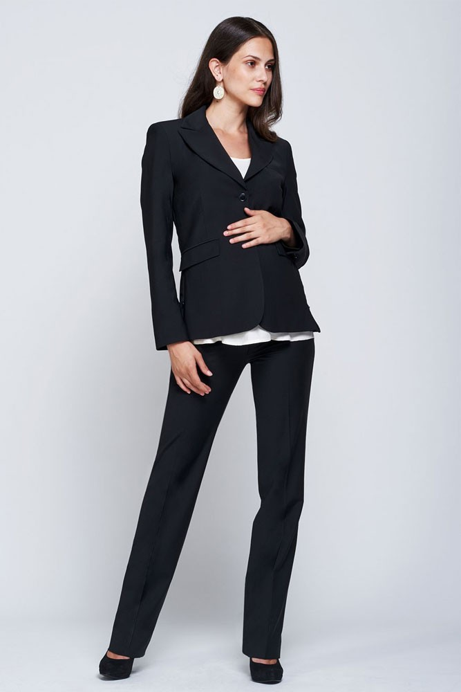 4cd41d2519ea Slacks   Co. Zurich Maternity Career Jacket with Side Zippers in Black