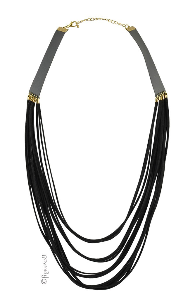 Black Rope Pleather Necklace (Black)