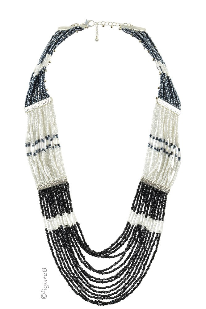 Cleopatra Necklace (Black/Pearl/Silver)
