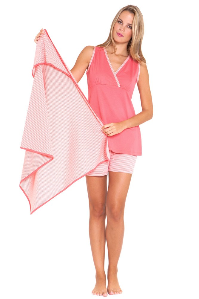 Alaina 3-Piece Nursing PJ Set  with Gift Box (Pink Stripes)