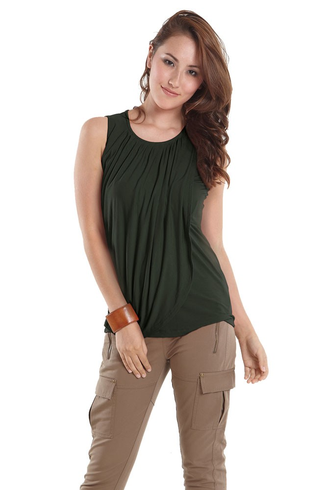 Goddess Drape Sleeveless Maternity & Nursing Top (Myrtle Green)