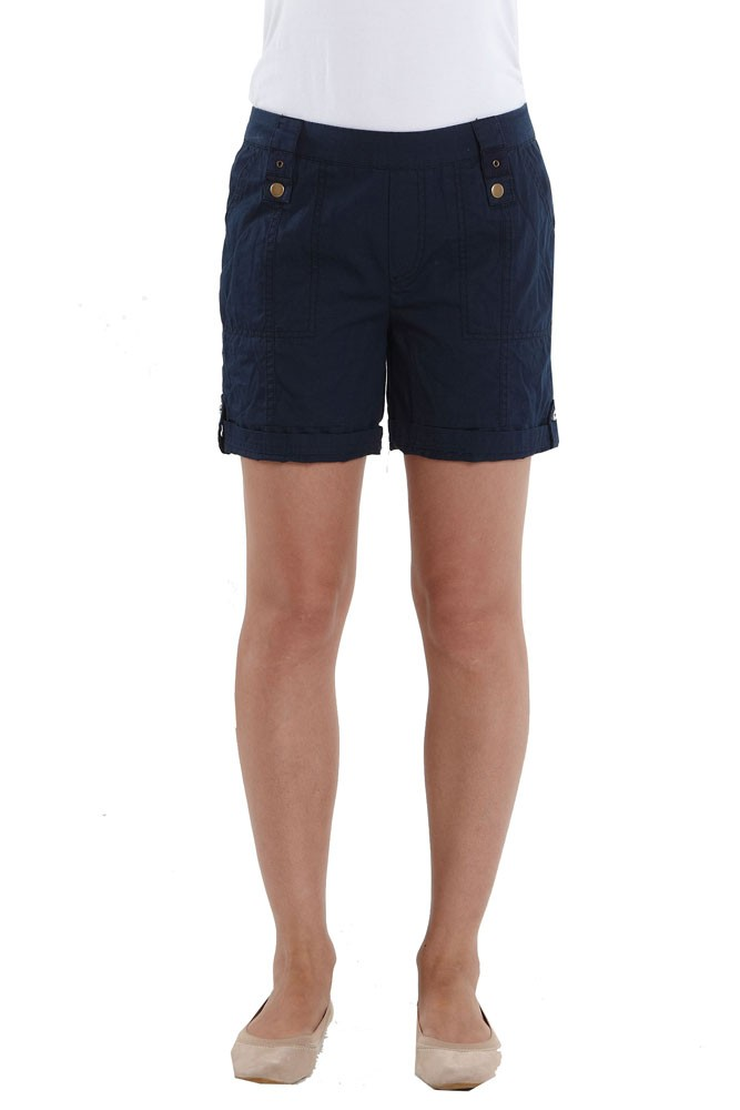 0954534a9f85a Addie Cotton Cargo Maternity Shorts in Navy by Mothers en Vogue