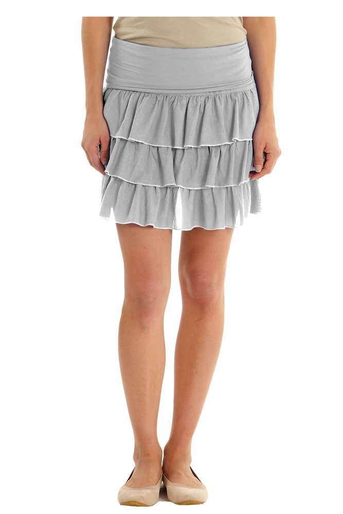 Flirty Layered Maternity Skirt (Dove Grey/Turtle Dove)