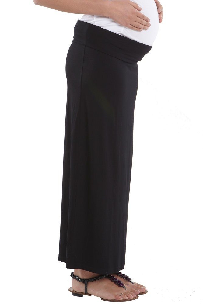 Martina Slim Fit Maxi Jersey Maternity Skirt (Black)