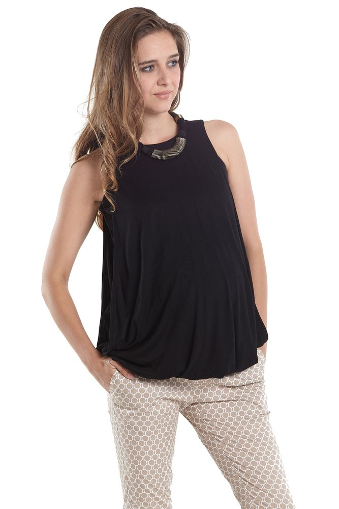 Milla Bubble Hem Maternity & NursingTank (Black)
