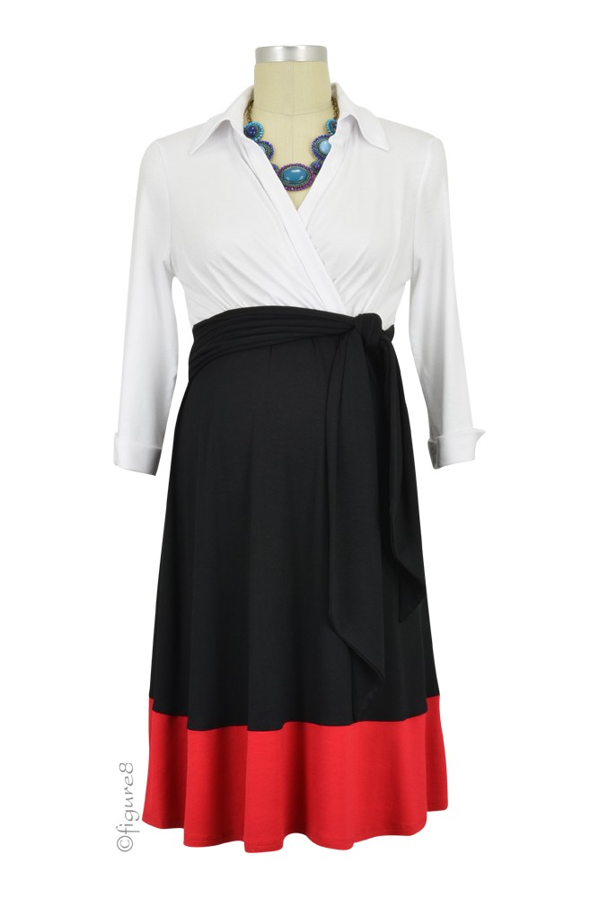 Colleen Front Tie Maternity Shirt Dress (White, Black & Red)