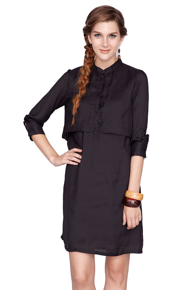 Bobbie Nursing Shirtdress (Black)