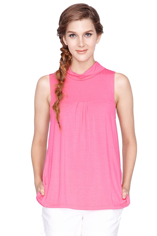 Norma Roll Neck Maternity & Nursing Top (Fuschia)