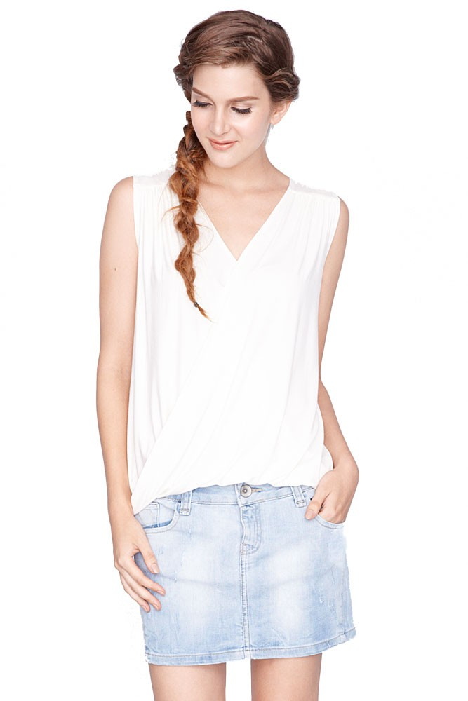 Alba Twist V-Neck Nursing Top (Cream)