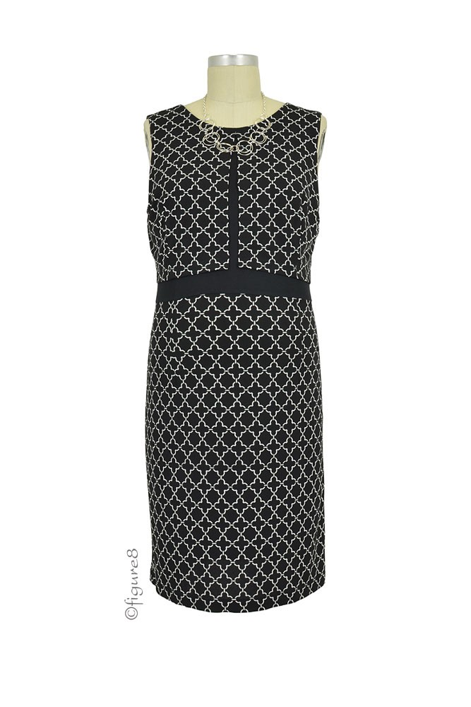 Sophie & Eve Hartford Split Front Chain Print Nursing Dress (Black and White Chain)