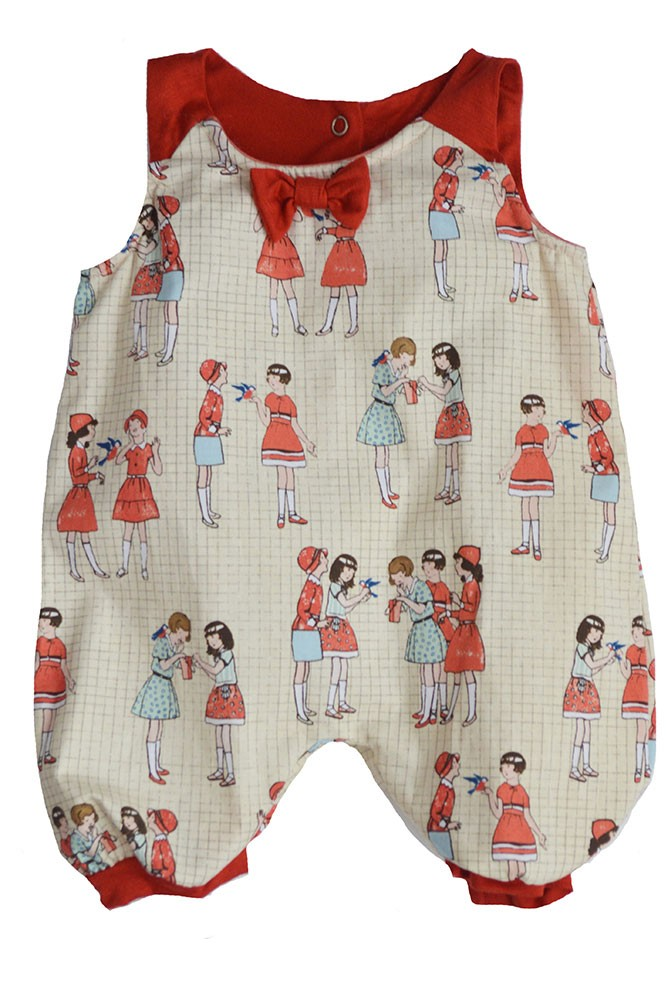 The Peggie Baby Onesie by Shirley & Victor (Schoolyard Print)
