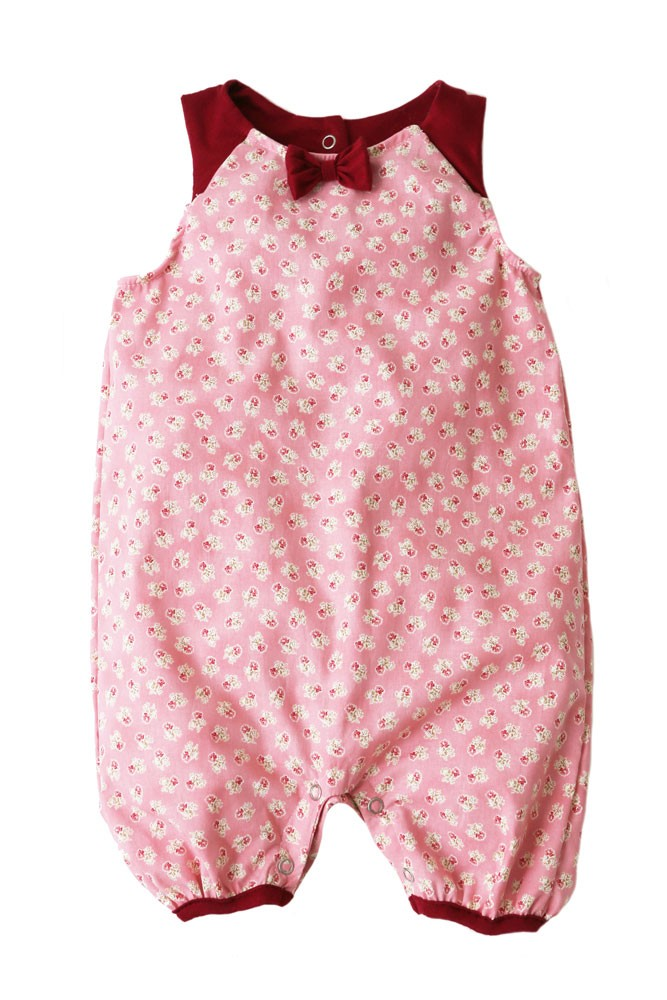 The Peggie Baby Onesie by Shirley & Victor (Red Rose Print)