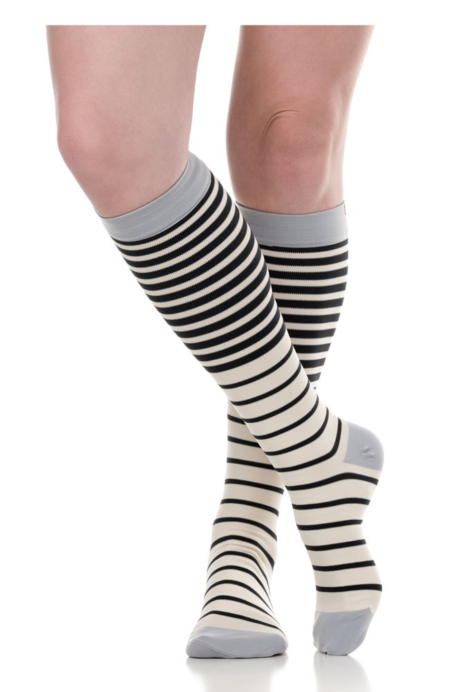 Vim & Vigr 15-20 mmHg Women's Stylish Compression Socks - Nylon (Falling Stripe: Cloud & Sky)