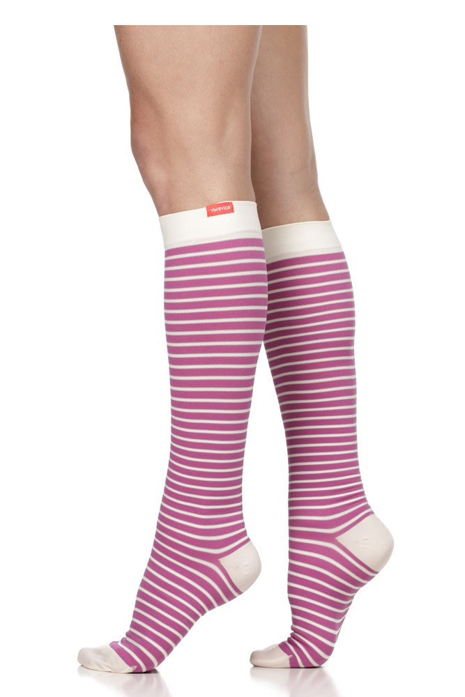 Vim & Vigr 15-20 mmHg Women's Stylish Compression Socks - Nylon (Raspberry & Cream Stripe)