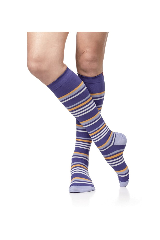 Vim & Vigr 15-20 mmHg Women's Stylish Compression Socks - Nylon (Purple, Lavender & Creamsicle)