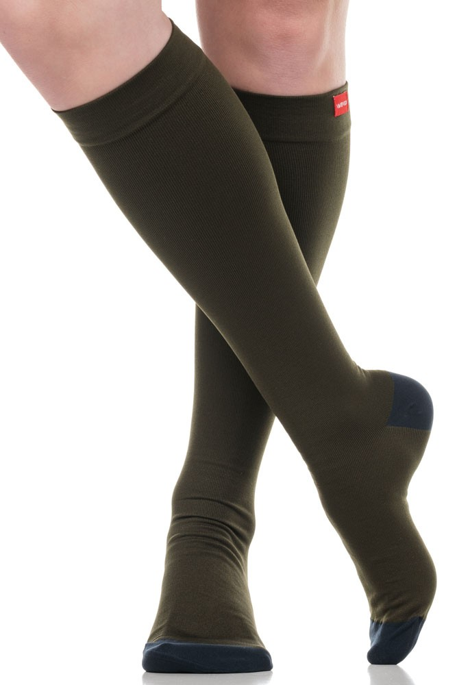 Vim & Vigr 15-20 mmHg Women's Compression Socks - Moisture Wick (Olive & Navy Two Toned)