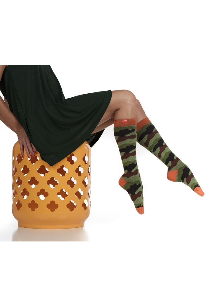 Vim & Vigr 15-20 mmHg Women's Stylish Compression Socks - Cotton (Green & Black Camo)