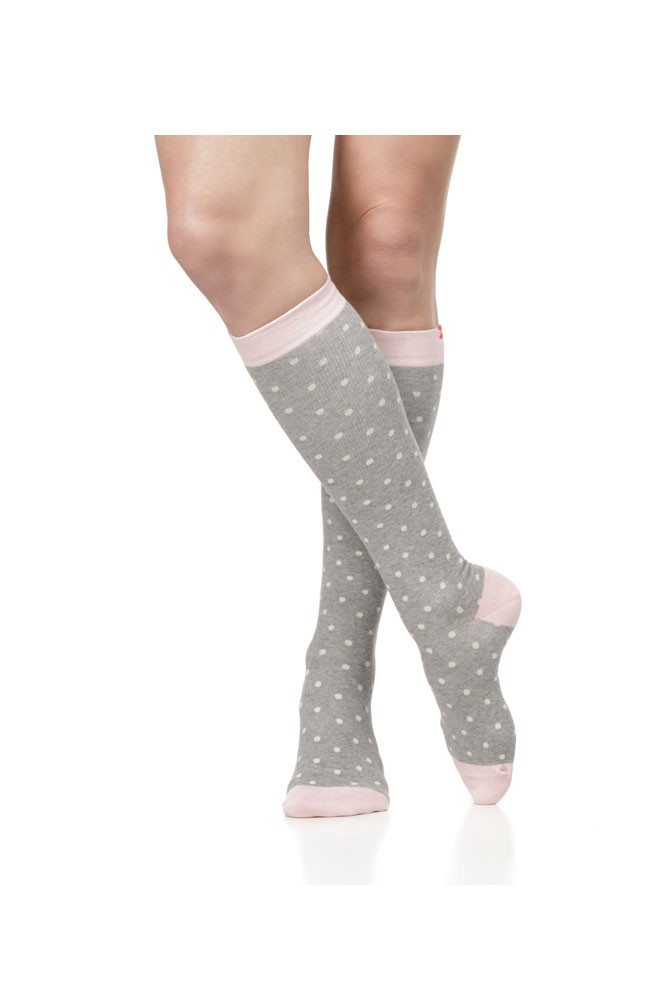 Vim & Vigr 15-20 mmHg Women's Stylish Compression Socks - Cotton (Heather Grey & Pink Petite Dot)