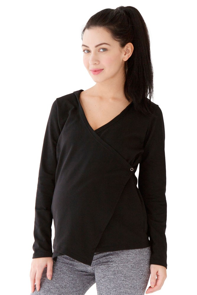 Belabumbum Active Hoodie Maternity & Nursing Wrap in Black