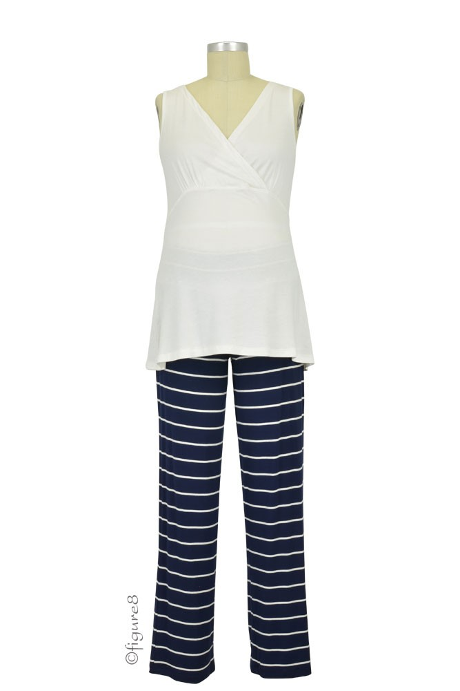 Roxanne 5-pc. Nursing PJ Set with Baby Gown & Gift Bag (Navy)