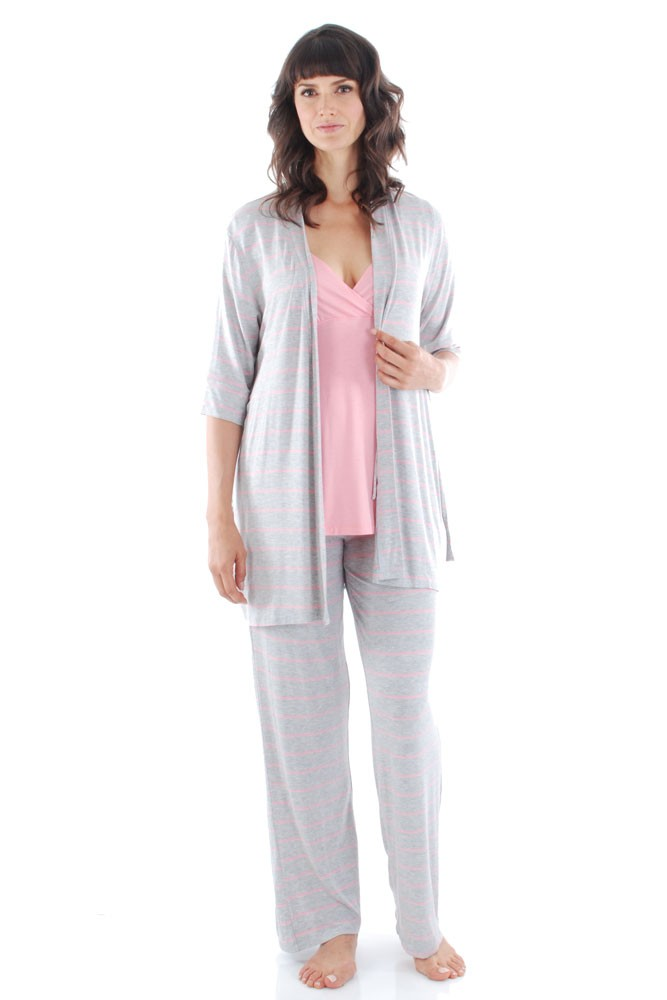Roxanne 5-pc. Nursing PJ Set with Baby Gown & Gift Bag (Rose Bud)