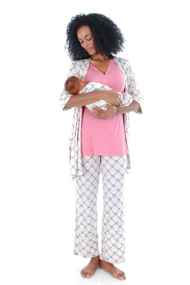 Roxanne 5-pc. Nursing PJ Set with Baby Gown & Gift Bag (Duchess)