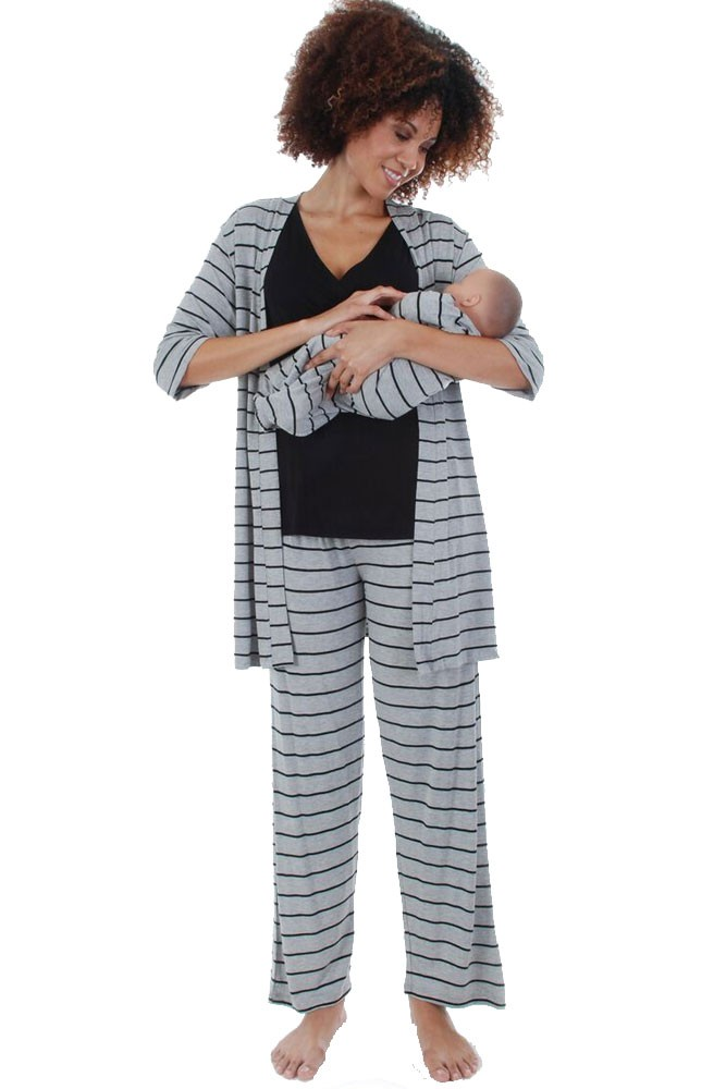 Roxanne 5-pc. Nursing PJ Set with Baby Gown & Gift Bag (Heather Grey Stripes)