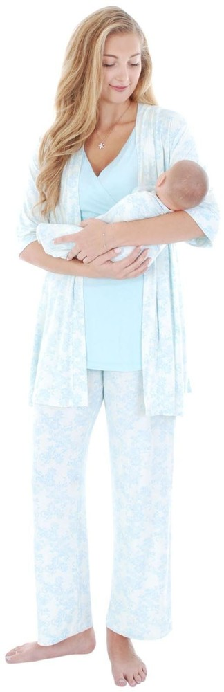 Roxanne 5-pc. Nursing PJ Set with Baby Gown & Gift Bag (Chantilly)