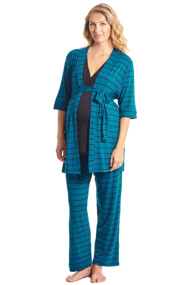 Roxanne 5-pc. Nursing PJ Set with Baby Gown & Gift Bag (Teal Stripe)