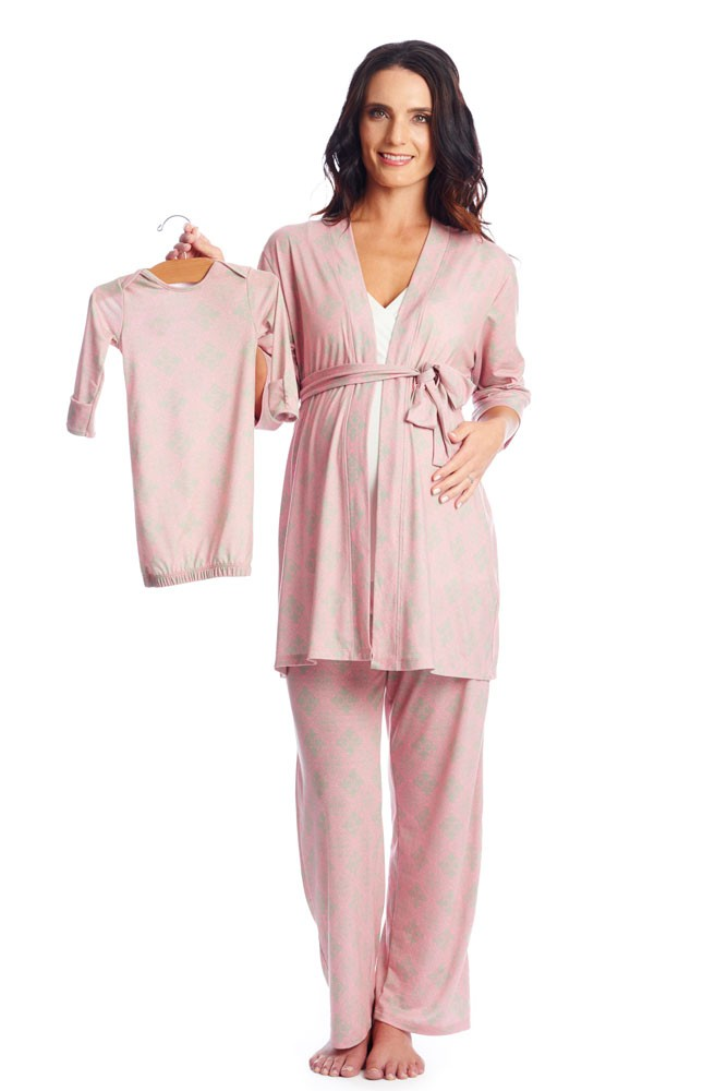 Roxanne 5-pc. Nursing PJ Set with Baby Gown & Gift Bag (Vintage)