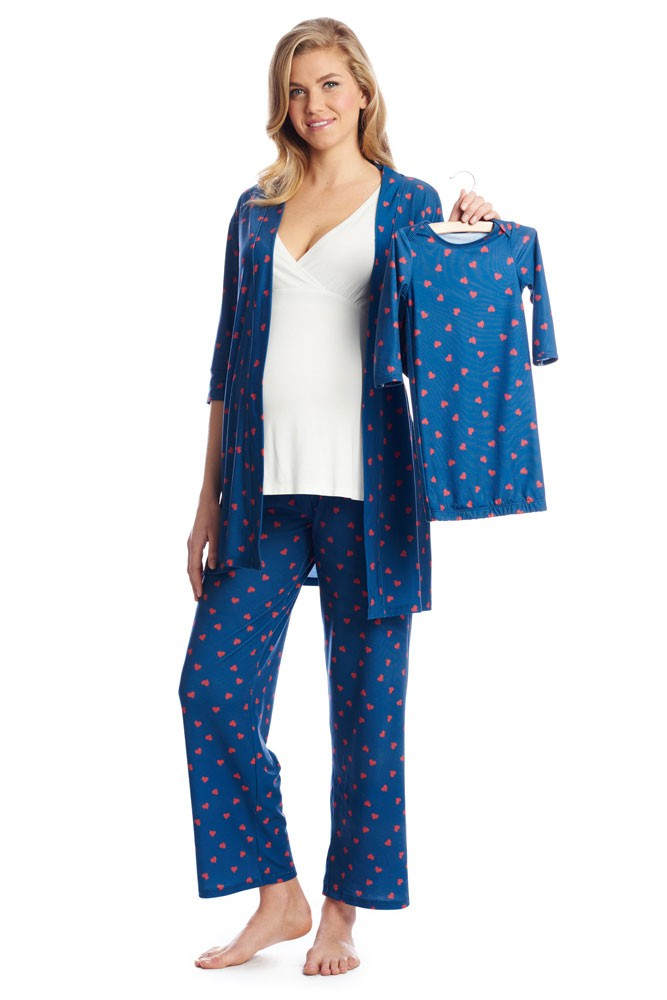 Roxanne 5-pc. Nursing PJ Set with Baby Gown & Gift Bag (Hearts)