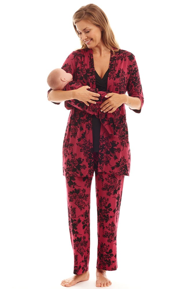 Roxanne 5-pc. Nursing PJ Set with Baby Gown & Gift Bag (Berry Floral)