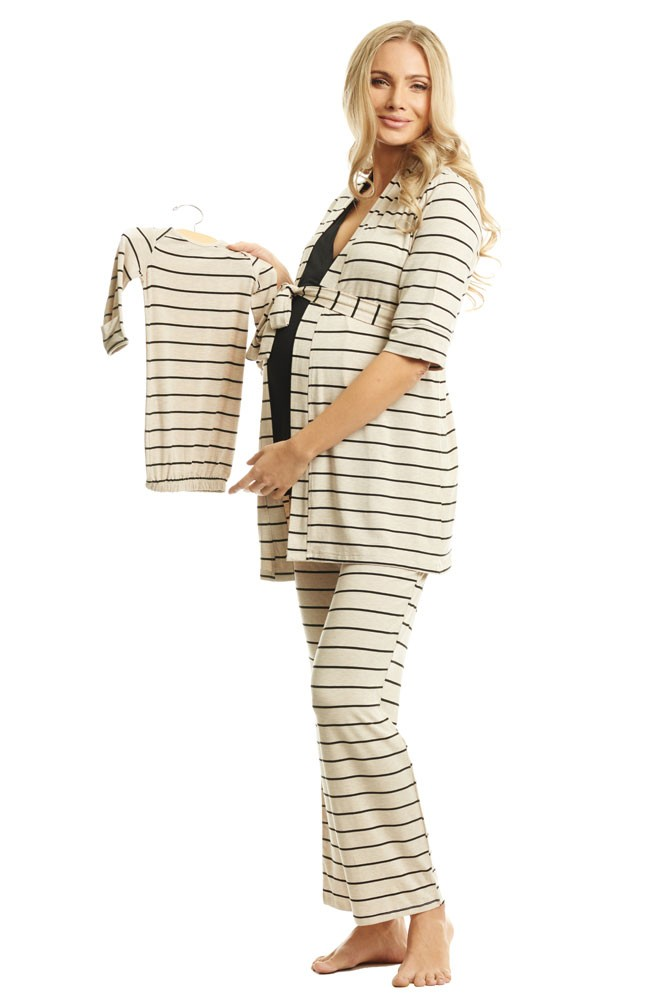 Roxanne 5-pc. Nursing PJ Set with Baby Gown & Gift Bag (Sand Stripe)