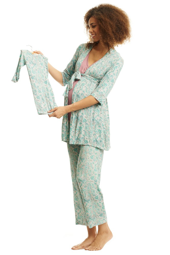 Roxanne 5-pc. Nursing PJ Set with Baby Gown & Gift Bag (Paisley)