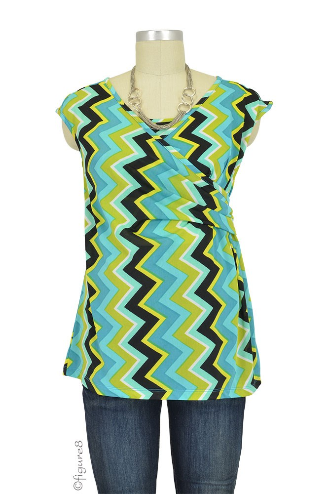 Danica Cap Sleeve Maternity & Nursing Top (Chevron Green)