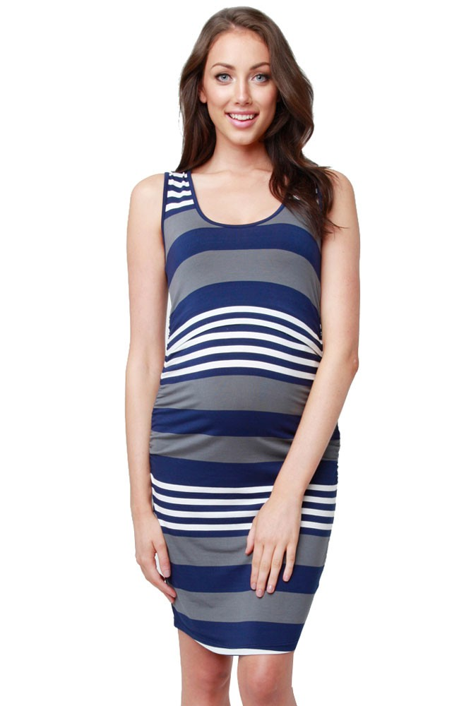 Vanna Striped Maternity   Nursing Tube Dress in Midnight  White Flint by  Ripe Maternity