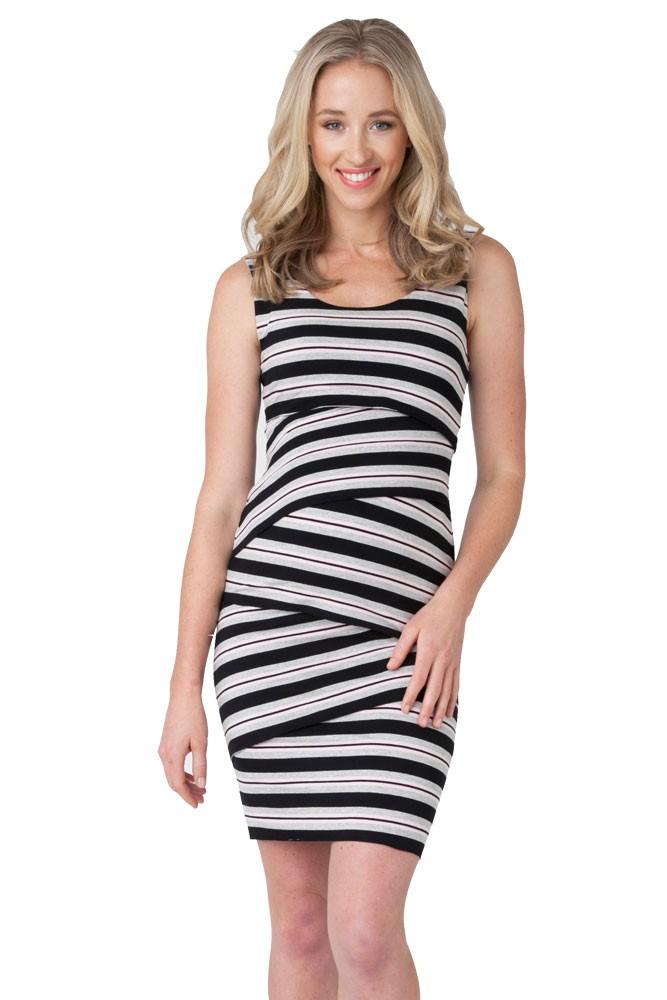 bb411f021e6c4 Amanda Crisscross Striped Maternity Dress in Peony Stripe by Ripe ...