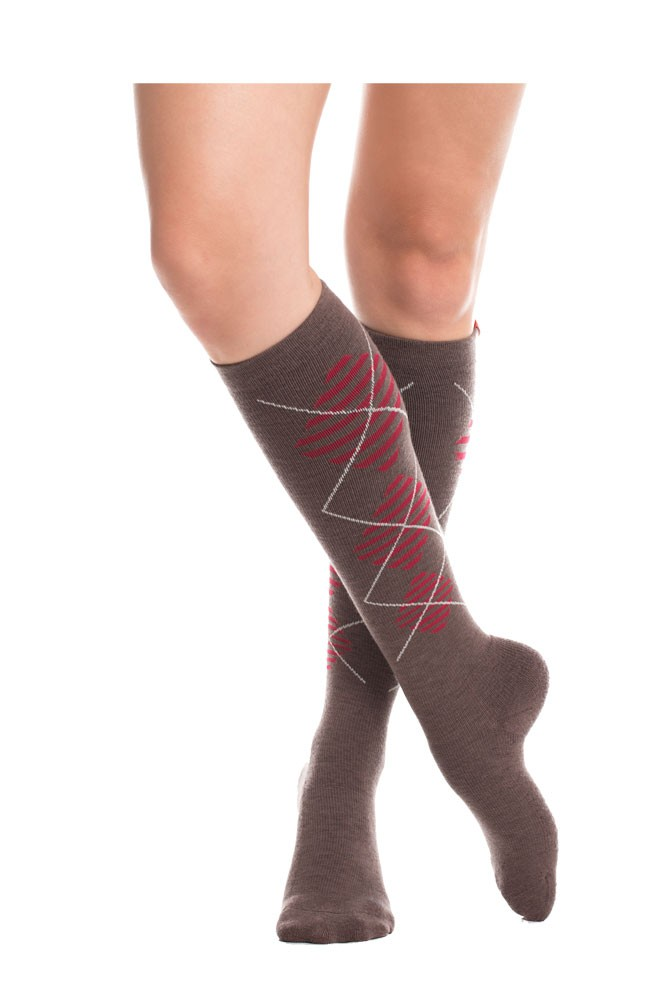 Vim & Vigr 15-20 mmHg Women's Stylish Compression Socks - Wool (Brown & Red)