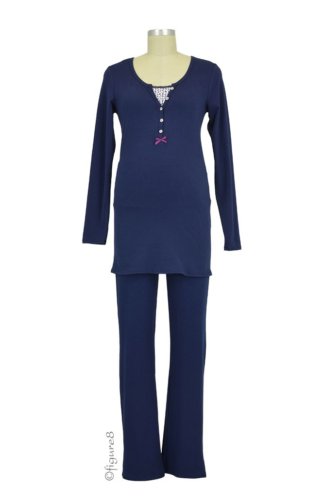 Elise Long Sleeve Nursing PJ Set (Navy)