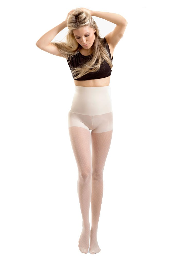 Blanqi High Waist Tummy Support Pantyhose (Fishnet Sheer) (Fishnet Nude)